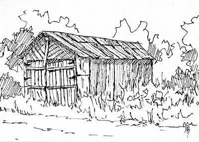 Drawing - Aceo No 1 Pen Abandoned Shed by David King