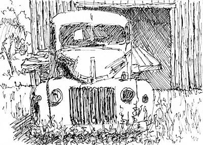 Drawing - Aceo No 4 Old Ford Truck And Barn Pen by David King