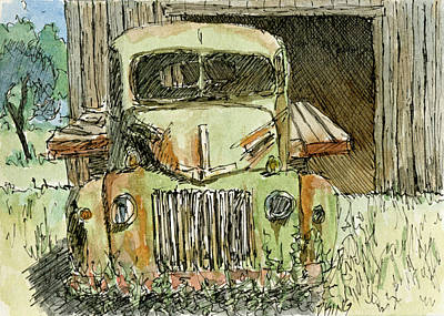 Painting - Aceo No 4 Old Ford Truck And Barn Wc by David King