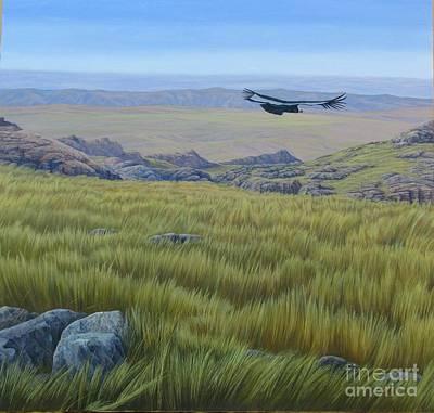 Condor Painting - Achala  Landscape by Juan Enrique Marquez