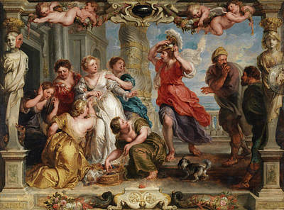 Greek Painting - Achilles Discovered By Ulysses Among The Daughters Of Lycomedes by Peter Paul Rubens