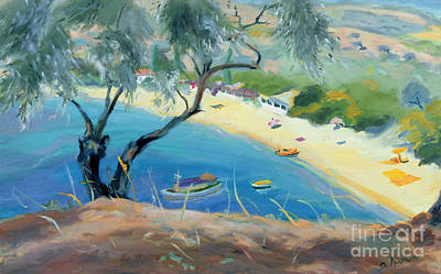 Olive Tree Painting - Achladies Bay - Skiathos - Greece by Anne Durham