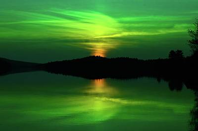 Photograph - Achray Sunset In Green, Grand Lake, Algonquin Park by David Porteus
