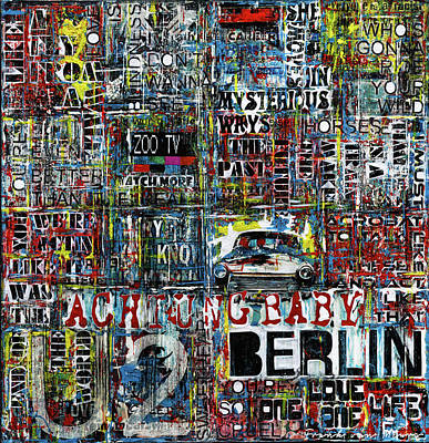 Lyrics Wall Art - Painting - Achtung Baby by Frank Van Meurs