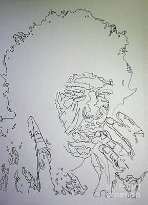Drawing - Acid Trip Jimi by Kristen Diefenbach