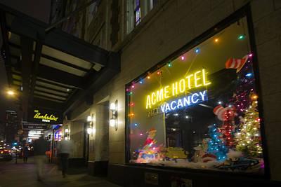 Acme Hotel Holiday Street Scene Art Print by Sven Brogren