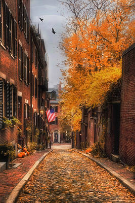 New England Fall Photograph - Acorn St. by Joann Vitali