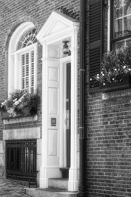 Photograph - Acorn Street Door And Windows Bw by Susan Candelario