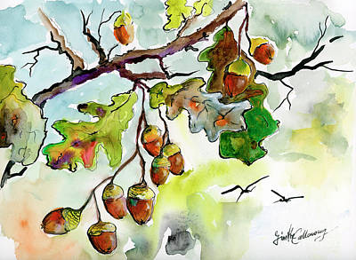 Painting - Acorns And Oak Leaves Autumn Impression by Ginette Callaway