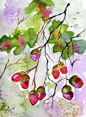 Painting - Acorns In The Autumn Evening Sun by Ginette Callaway