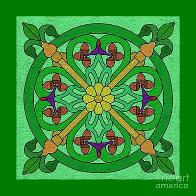 Digital Art - Acorns On Light Green by Curtis Koontz