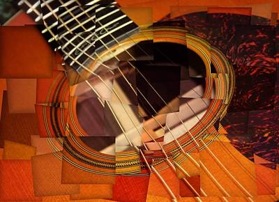 Acoustic Guitar Mixed Media - Acoustic Cubism by Dan Sproul