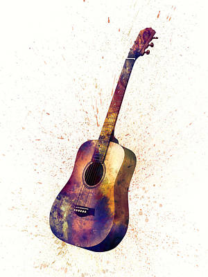 String Digital Art - Acoustic Guitar Abstract Watercolor by Michael Tompsett