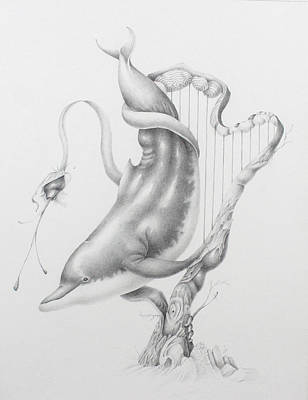 Drawing - Acoustic Ocean Harp And Dolphin by Kay Walker
