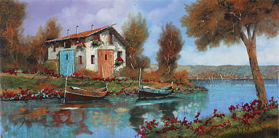 Red Flowers Painting - Acqua by Guido Borelli