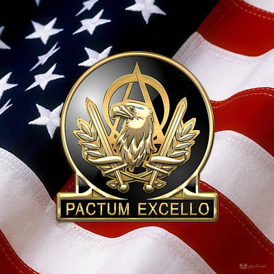 Digital Art - Acquisition Corps - A A C Regimental Insignia U. S. Flag  by Serge Averbukh