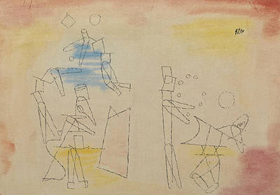 Swiss Drawing - Acrobats by Paul Klee