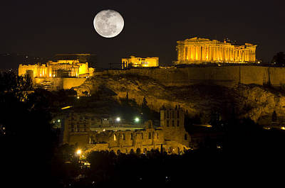 Acropolis Of Athens At Night With Full Moon Original