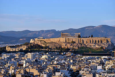 Photograph - Acropolis Of Athens And Theatre Of Herodus Atticus During Sunset by George Atsametakis