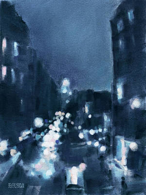Abstract Impressionist Painting - Across 23rd Street Nyc High Line At Night by Beverly Brown