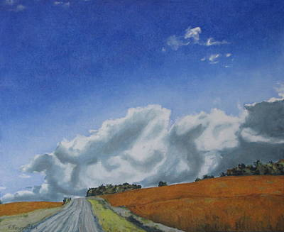Gravel Road Painting - Across A Golden Soya Field by Francois Fournier