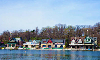 Row Boat Digital Art - Across From Boathouse Row - Philadelphia by Bill Cannon