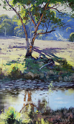 Shadows Painting - Across Long Ck Windeyer by Graham Gercken