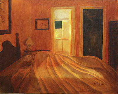 Painting - Across The Bed by Alan Mager