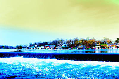 Across The Dam To Boathouse Row. Art Print by Bill Cannon