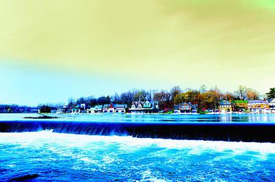 Schuylkill Digital Art - Across The Dam To Boathouse Row. by Bill Cannon