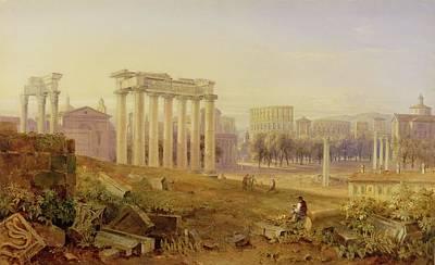 Gouache Photograph - Across The Forum - Rome by Hugh William Williams