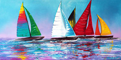 Sports Paintings - Across The Sea by Laura Barbosa
