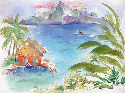 Inks And Watercolour Painting - Across The Sea Of The Moon by Pat Katz