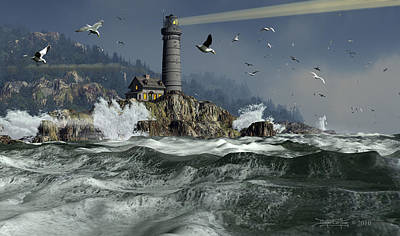 Lighthouse Digital Art - Across The Surly Brine by Dieter Carlton