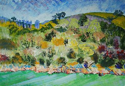 Painting - Across The Water At Darmouth - Trees On Cliffs by Mike Jory