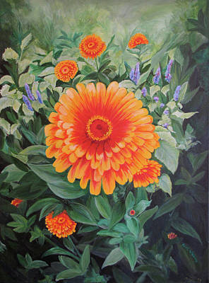 Floral Still Life Painting - Acrylic Flower Painting - Zoozinnia by Avril Whitney