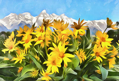 Painting - Acrylic Flowers And Mountains by Dan Sproul