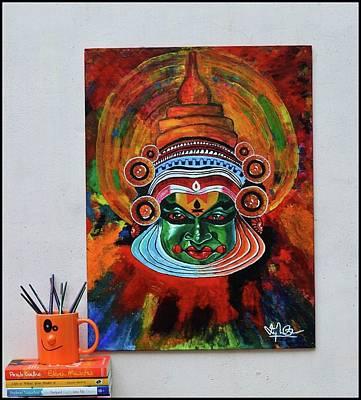 Kathakali Painting - Acrylic Kathakali Painting Handmade On Canvas by Vipin Cv