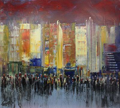 Skylines Painting - Acrylic Msc 182 by Mario Sergio Calzi