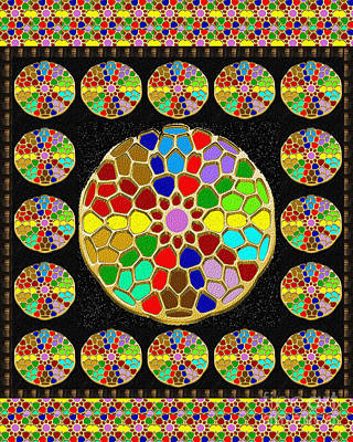 Rights Managed Images Painting - Acrylic Painted Round Colorful Jewel Patterns By Navinjoshi At Fineartamerica.com   Also Available O by Navin Joshi
