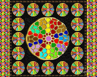 Painting - Acrylic Painted Round Colorful Jewel Patterns By Navinjoshi At Fineartamerica.com  by Navin Joshi