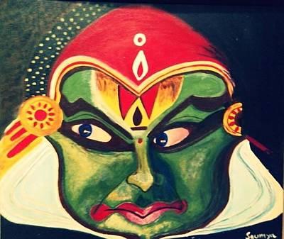 Kathakali Painting - Acrylic Painting - Kathakali Dancer by Saumya Saxena