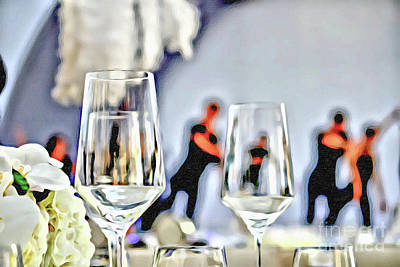 Hand Painted Wine Glass Painting - Acrylic Painting Party Setting With Bokeh Background by Eiko Tsuchiya
