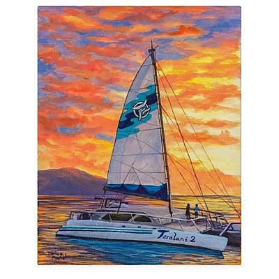 Artist Wall Art - Photograph - Acrylic Painting sunset Cruise by Darice Machel McGuire