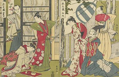 Geisha Drawing - Act I And Act II by Katsukawa Shunei