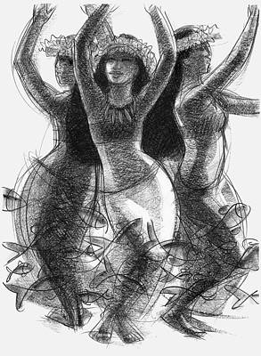 Drawing - Action Song Dancers With Fish Pareu by Judith Kunzle