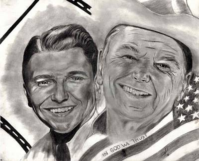 Annette Kinship Wall Art - Drawing - Action With President Ronald Reagan by Annette Kinship