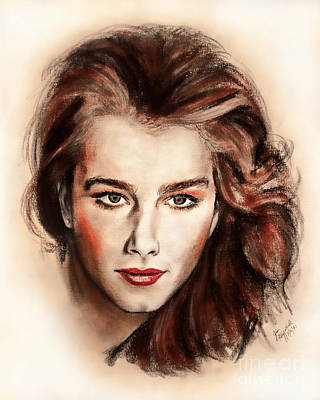 Drawing - Actress And Model Brooke Shields II by Jim Fitzpatrick