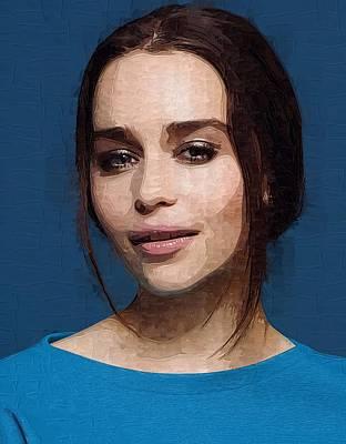 Rire Digital Art - Actress Emilia Clarke  by Best Actors