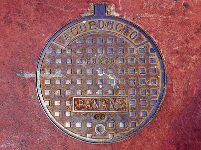 Photograph - Acueducto Panama Manhole Cover by Herb Paynter